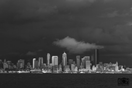 Seattle evening in B&W